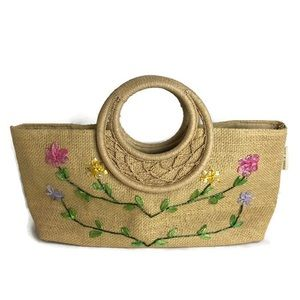 Floral Stitch Straw Beach Bag